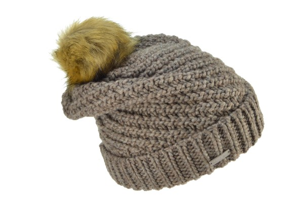 a4ae29820ae SEEBERGER women knit headwear »Beanie with turn-up and« nutria Orig ...