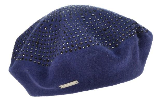 SEEBERGER women boiled wool headwear »boiled wool beret« marine blue ... 9a2215d7df8