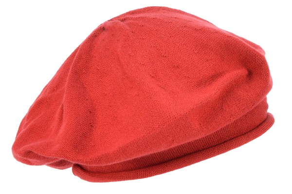 691bd472930c8a SEEBERGER women knit headwear »voluminous beret with roll« wine red ...