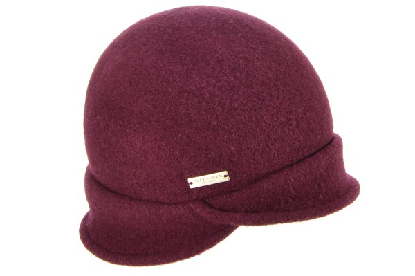 9baf9c833d5 SEEBERGER women boiled wool hat boiled wool cloche with burgundy red Orig