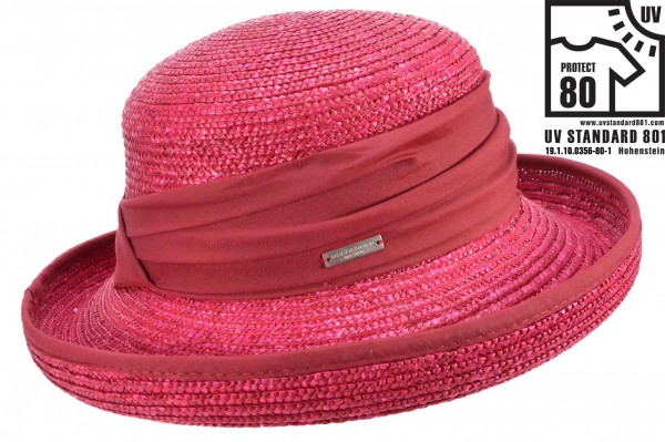a98e2960 SEEBERGER women straw hat hat in straw braid 51439-0 wine red Orig. This  distinctive summer hat from ...