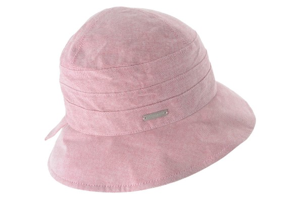5806ae39e97 SEEBERGER women cut and sewn hat cloche in chambray fabric wine red Orig