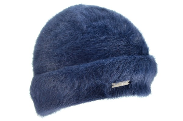 SEEBERGER women knit headwear »Angora Beanie 17676-0« marine blue ... 044c5499b48