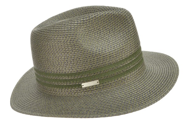 49018e879e75e SEEBERGER women straw hat »fedora with gross grain« khaki Orig ...
