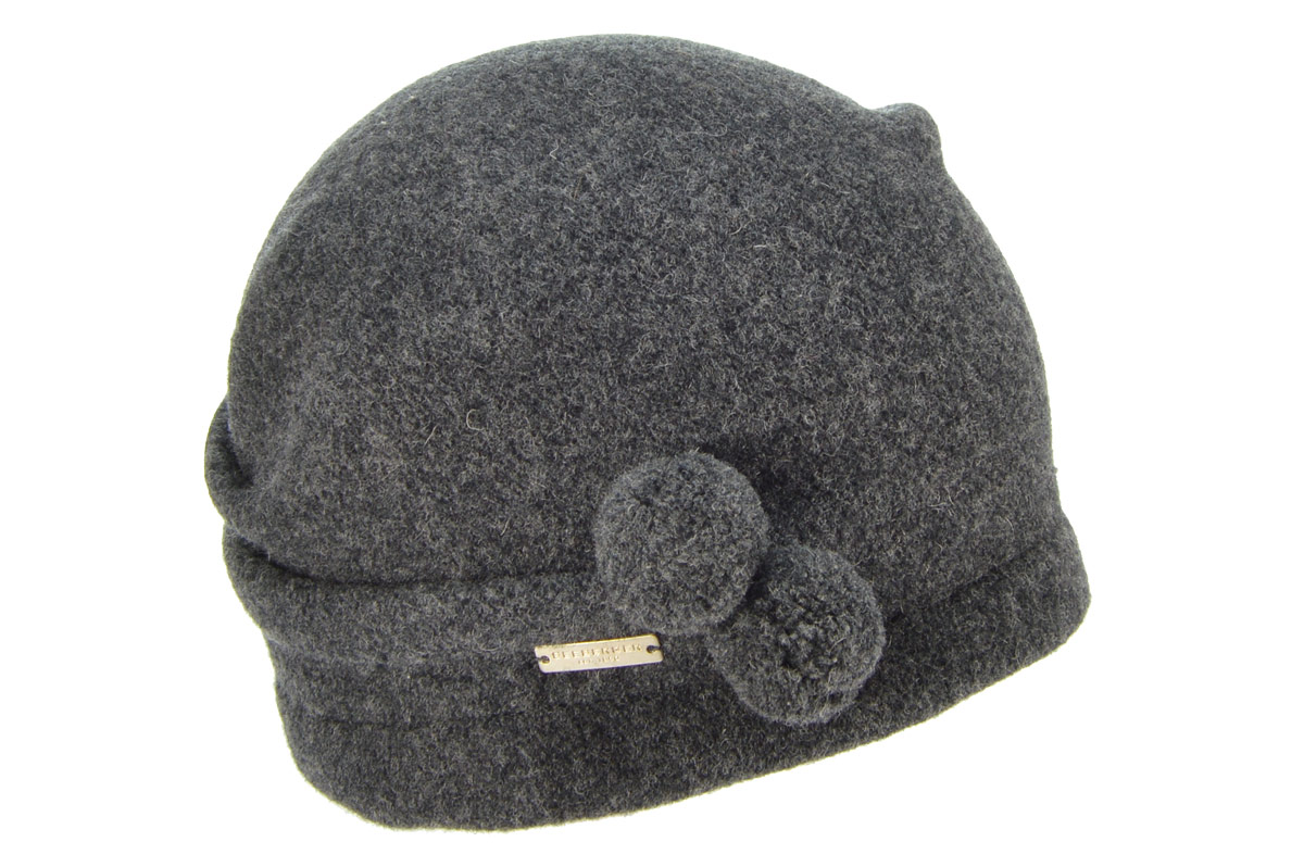 SEEBERGER women boiled wool headwear »boiled wool beanie« anthracite ... 18f6e51cce1