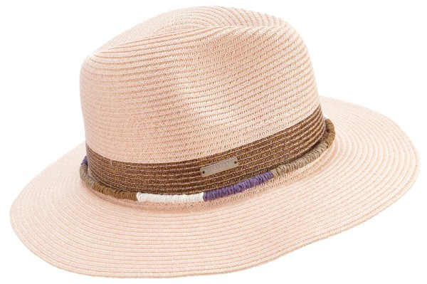d234be5a SEEBERGER women straw hat »fedora with shiny insert« rosewood Orig ...