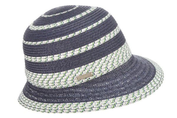 49b215ad0ea0dc SEEBERGER women straw hat cloche with colored details swallow blue/white  Orig