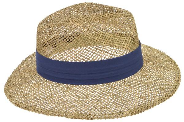 53ee8cd8 SEEBERGER men, unisex straw hat hat men seagras 568236-0 natural/swallow  blue Orig