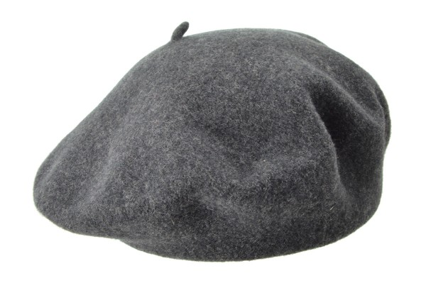 SEEBERGER women boiled wool headwear boiled wool beret 4329-0 anthracite  Orig d002fa1bc44