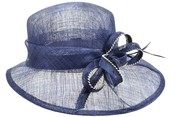 SEEBERGER women straw hat »cloche with sinamay and« ink blue Orig ... 7cbbdc78dd0