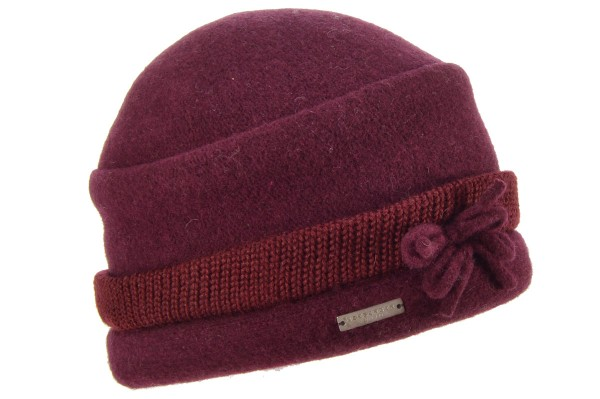 SEEBERGER women boiled wool headwear boiled wool toque with burgundy red cf39967d280