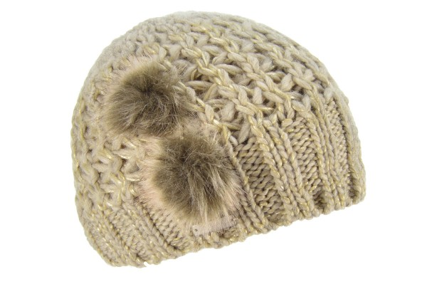 89d3f39ba4c SEEBERGER women knit headwear »beanie with fake fur pompoms« sand ...